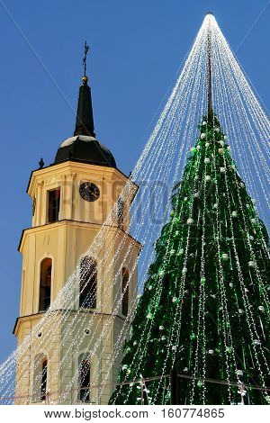 Christmas Tree With Decoration And Belfry Of Cathedral Square Vilnius
