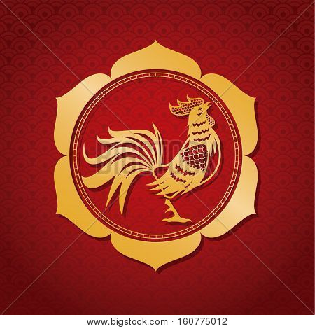 year rooster chinese calendar gold frame vector illustion eps 10