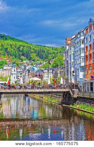 Embankment With Bridge Above Tepla River Karlovy Vary