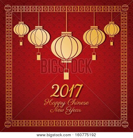 chinese new year 2017 greeting card lanterns vector illustion eps 10