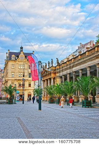 People At Mill Colonnade Of Karlovy Vary