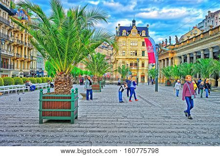 People In Mill Colonnade Of Karlovy Vary