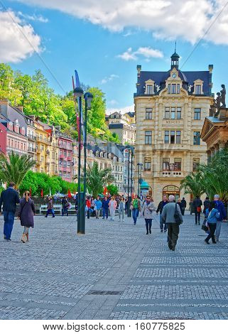 People In Promenade With Mill Colonnade Of Karlovy Vary