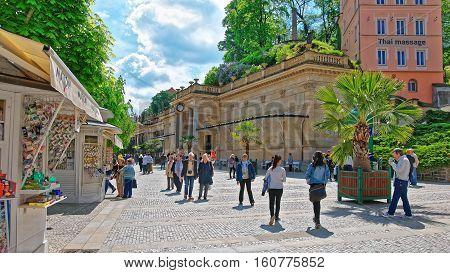 People Near Mill Colonnade  Karlovy Vary In Czech Republic