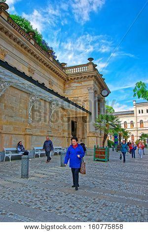 People Near Mill Colonnade Of Karlovy Vary In Czech Republic
