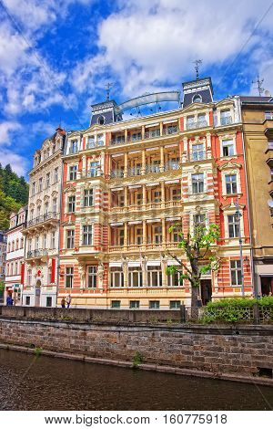 Promenade At Tepla River In Karlovy Vary Czech Republic