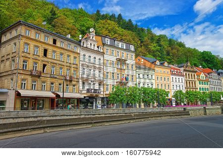 Promenade At Historical Street In Karlovy Vary