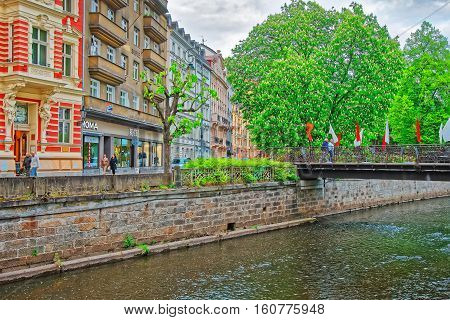 Promenade At The Tepla River In Karlovy Vary
