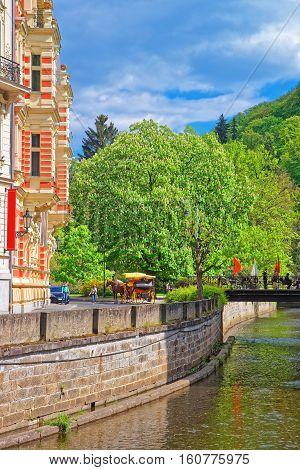 Promenade Street Over Tepla River Karlovy Vary