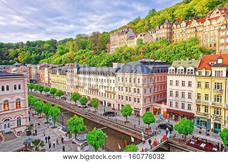 Roof Top View On Promenade Karlovy Vary Czech Republic