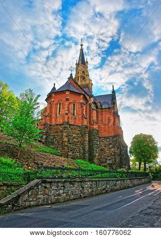 Saint Luke Church On Castle Hill Of Karlovy Vary