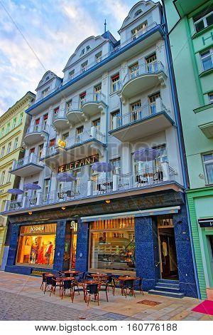 Street Restaurant At Promenade In Karlovy Vary