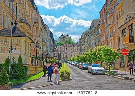 Street With People In Karlovy Vary In Czech Republic
