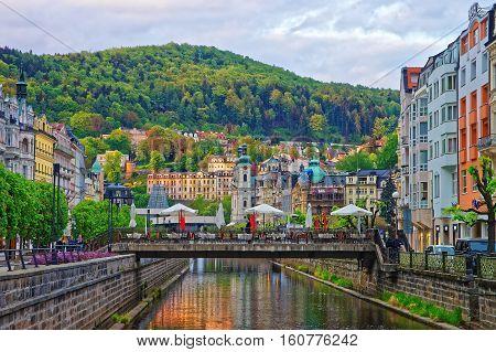 Tepla River And Saint Mary Magdalene Church Karlovy Vary