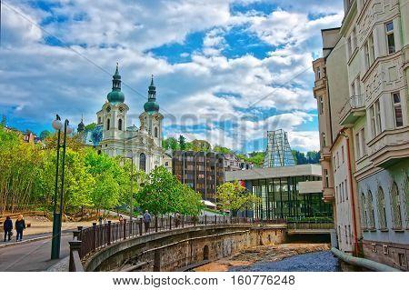 Tepla River And St Mary Magdalene Church Karlovy Vary