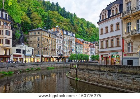Tepla River And Its Promenade At Karlovy Vary