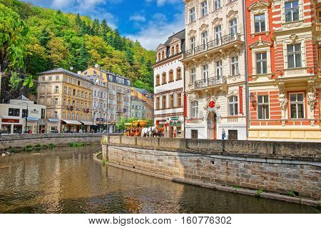 Tepla River And Its Promenade In Karlovy Vary