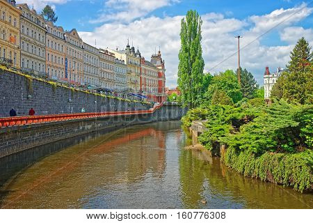 Tepla River And Its Promenade Street Karlovy Vary