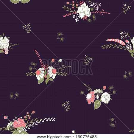 Seamless patern with bouquet of flowers in vintage style on dark background. Retro background in vector for your design