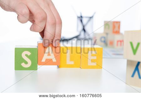 Sale Word With Colorful Blocks