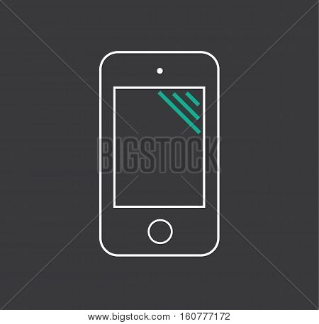 Phone cell mobile screen icon symbol sign black background vector stock