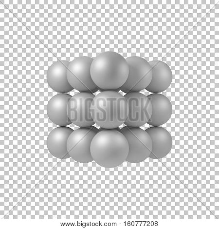 White abstract array with pearl spheres, balls, atom, molecule grid with realistic shadow and transparent background for logo, design concepts, web and prints. 3D render design. Vector illustration.