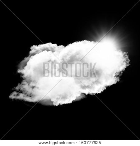 Single white fluffy cloud with sun behind it isolated over black background 3D rendering illustration design elements