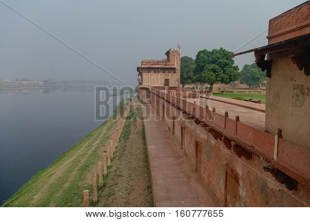 View Of Yamuna River From Itmad-ud-daulah's Tomb In Agra, Uttar Pradesh, India. Also Known As The Je
