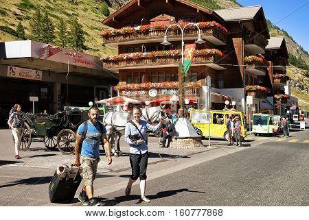 Tourists At City Center Of Zermatt Valais Canton
