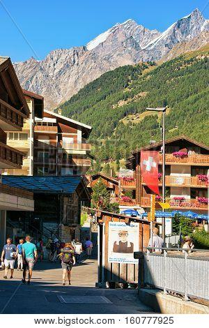 Tourists At Town Center Of Zermatt