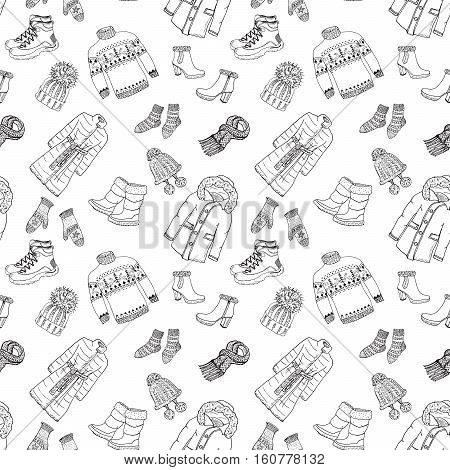 Winter season doodle clothes seamless pattern. Hand drawn sketch elements warm raindeer sweater coat boots socks gloves and hats. vector background illustration