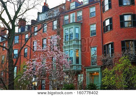 Beacon Hill Neighborhood In Downtown Boston Usa