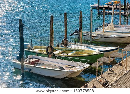 Boats At Waterfront In Expensive Resort Ascona In Ticino Switzerland