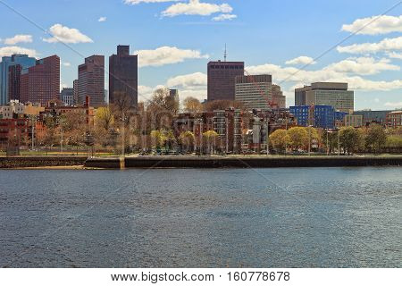 Colorful Trees In Front Of The Skyline Of Boston