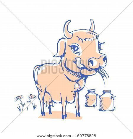 Isolated funny sketch cow for milk product. Cartoon cute cow. Use for child dairy products packaging, packaging of cheese, yogurt, or milkshake