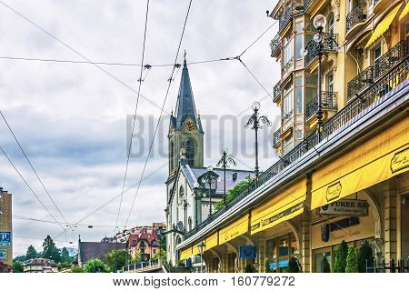 German Church In City Center In Montreux Of Vaud Switzerland