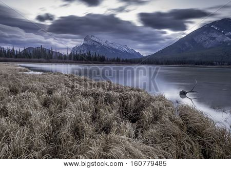 Banff Sunrise - a dramatic sunrise behind Mount Rundle as captured from the Vermilion Lakes just outside Banff Alberta.