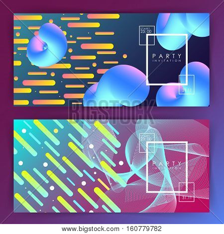 Two variations. gradient background. Intertwined colorful lines. Flat design. Geometric elements. Abstract illustration. Rectangle Minimalism Glow