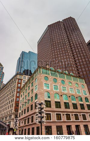 Modern Buildings At Faneuil Hall Square Of Downtown Boston