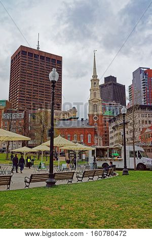 Park Street Church And Boston Common Public Park Of Usa