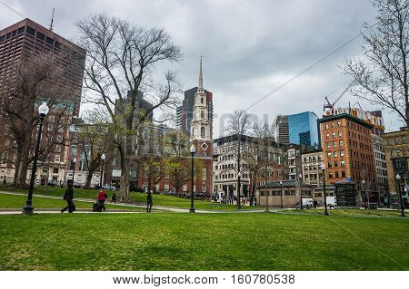 Park Street Church In Boston Common Public Park Of Usa