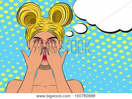 Pop art scared blond woman face. Comic wooman with speech bubble. Vector illustration.