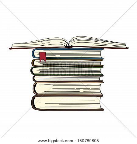 Hand drawn book stack. vector illustration. Open book