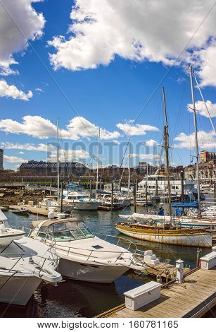 Pier Of Long Wharf With Customhouse Block And Sailboats Yachts