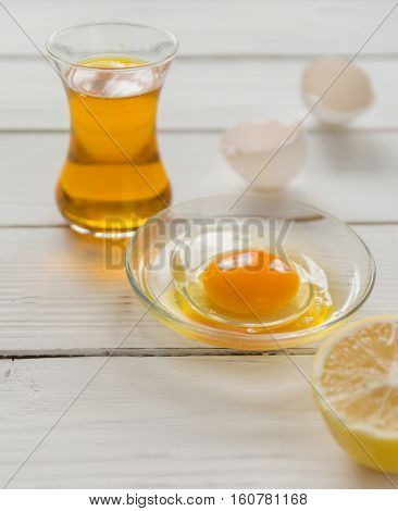 Ingredients For Cooking. Broken Egg Shells And Oil.