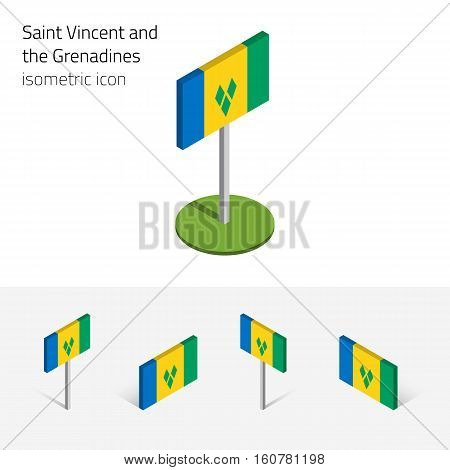 Saint Vincent and the Grenadines flag vector set of isometric flat icons 3D style different views. Editable design elements for banner website presentation infographic map collage. Eps 10