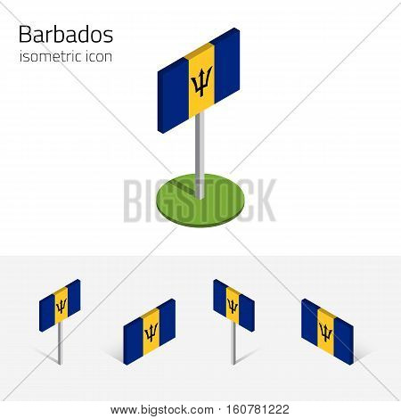 Barbados flag vector set of isometric flat icons 3D style different views. 100% editable design elements for banner website presentation infographic poster card map collage. Eps 10