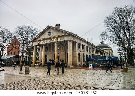 Quincy Market At Faneuil Hall Marketplace Of Downtown Boston