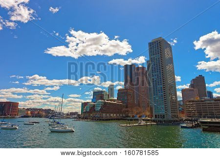 Skyline Of Boston And Floating Ships During The Sunny Day