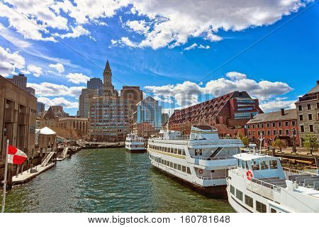 Skyline Of Boston And Ships Moored Near The Pier
